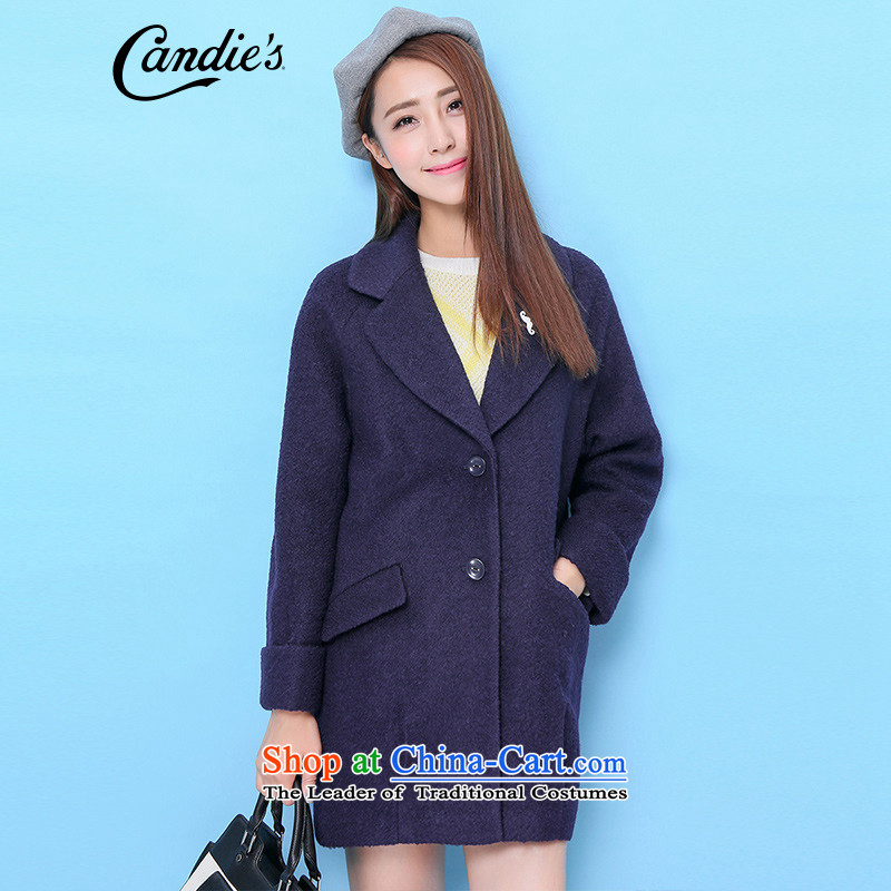 La Chapelle candies2015 winter New Pure Color Weaving in the rotator cuff-long hair? coats female navy S