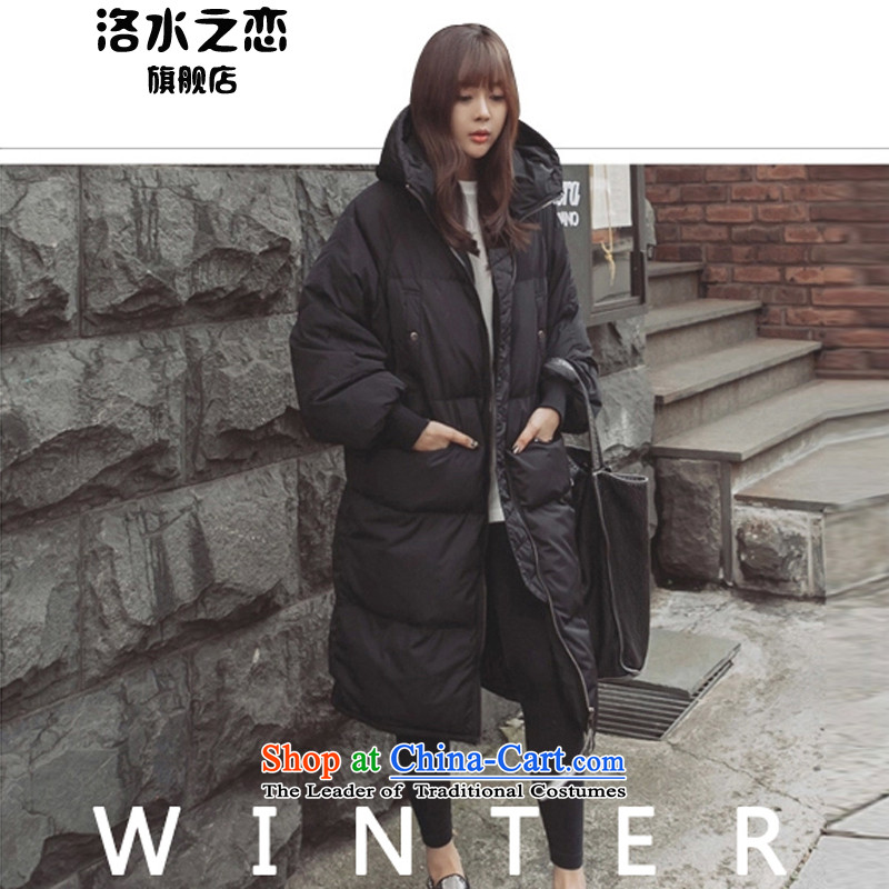 The water of the cotton coat female 2015 autumn and winter new Korean thick warm in the thin long graphics Sau San jacket, black girl M. 棉衣