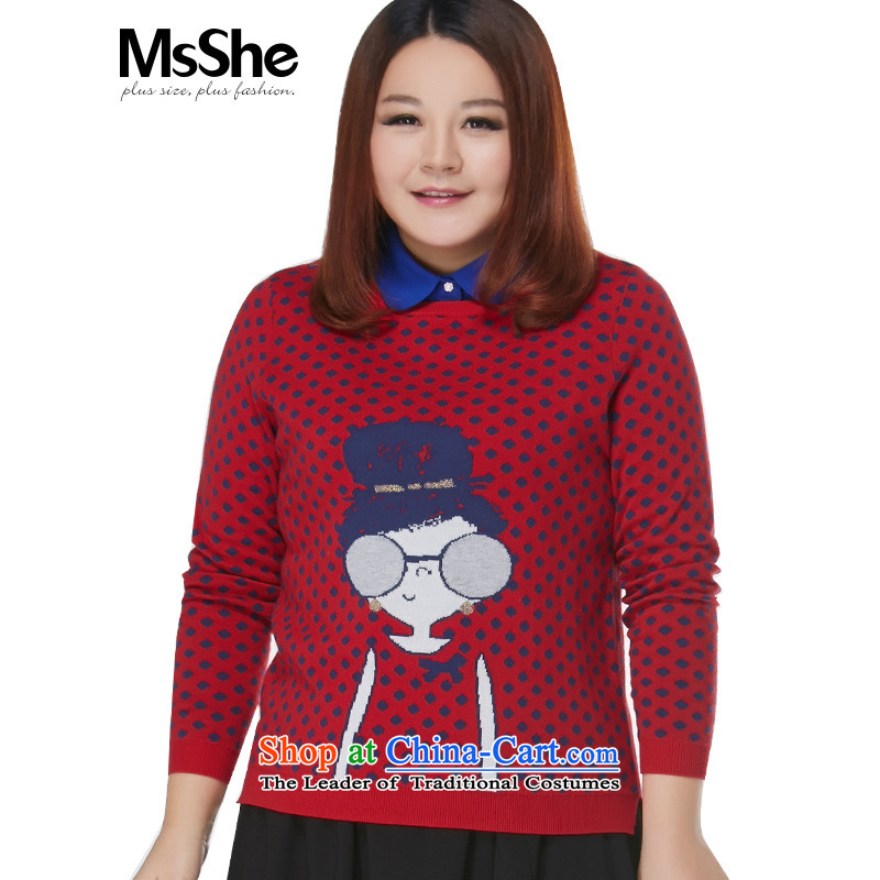 Msshe xl women 2015 new winter clothing cotton round-neck collar cartoon sweater pullovers 10641 Large Red4XL