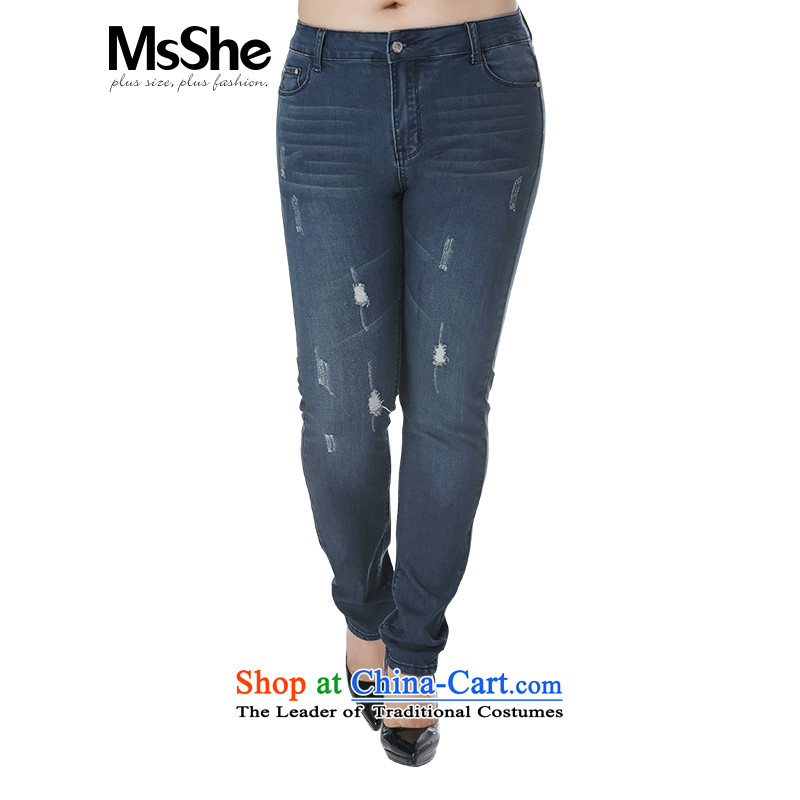 Msshe xl women 2015 new winter pants made old footsore cowboy trousers 4183rd deep Denim blue燭5