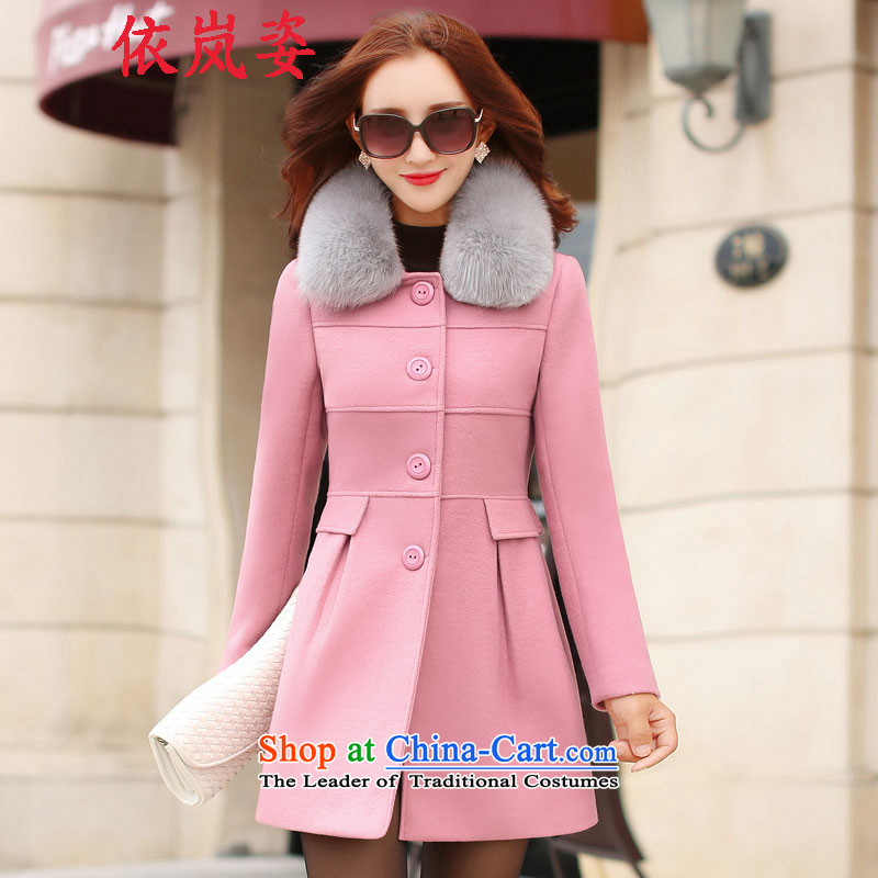 In accordance with the proposals for winter 2015 Gigi Lai new women's stylish girl in gross? jacket long temperament elegant beauty video thin hair? female jacket coat pink black hair forL