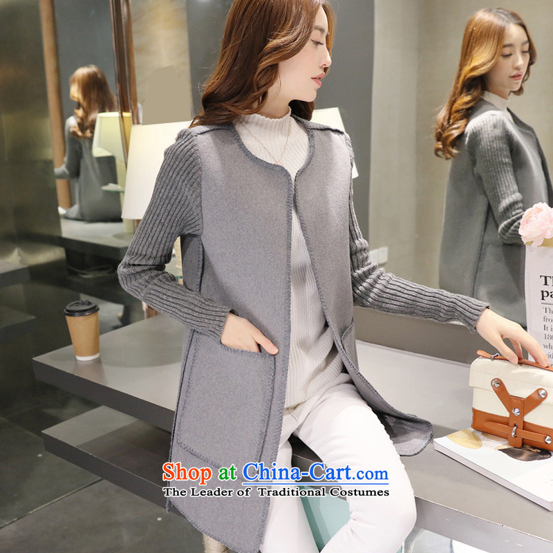Load the autumn 2015 has sin new products in the Women's Long Sleeve Sau San Korean knitting female gross jacket coat? female gray thick warmM