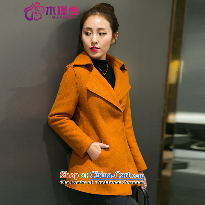 Wooden Geun-hye 2015 autumn and winter new lapel shirt wild minimalist short, long-sleeved Sau San video thin single row clip hair? female 1718 Gold and coat燤_160_84a_