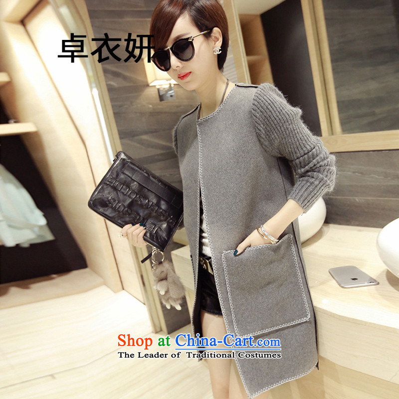 1486_2015 autumn and winter lady knitted cuffs jacket coat? gross Sau San gray?M
