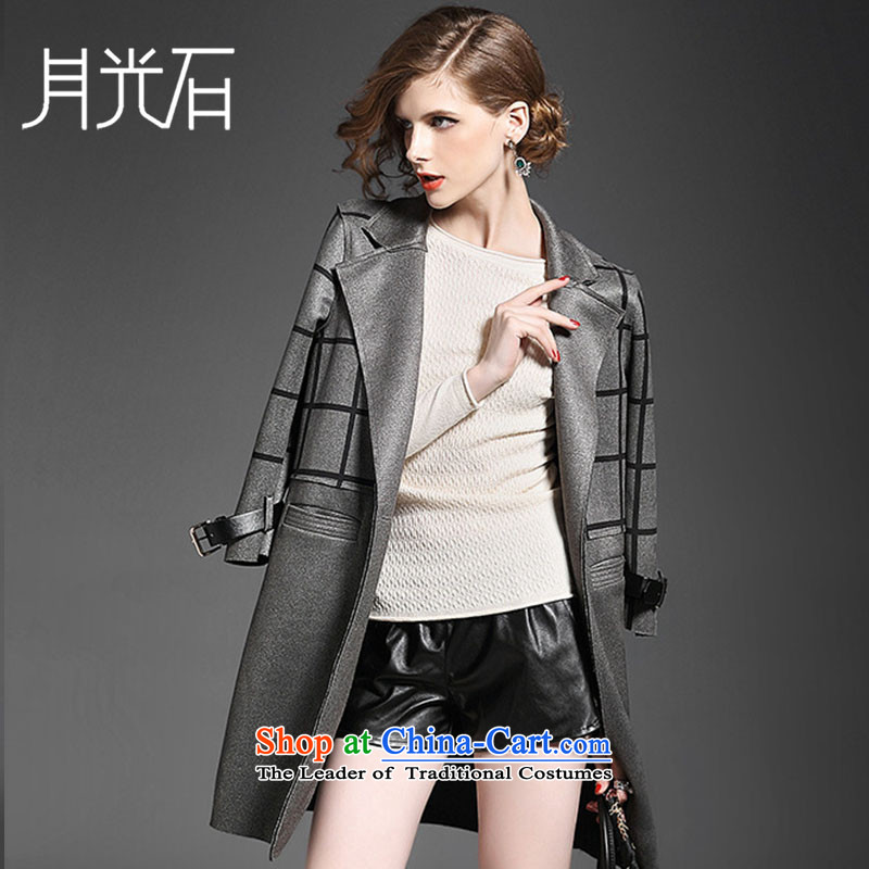 The Moonlight stone fall for women to the British Grid suits lapel straight in Sau San long wind jacket 5700 M Gray