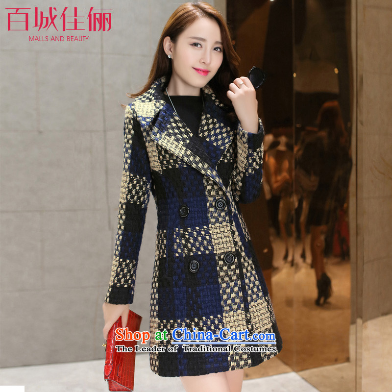 Pai Cheng Kai li 2015 autumn and winter new Korean version in the Sau San long latticed rough tweed woolen cloth woven wool coat female possession? Cyan燤