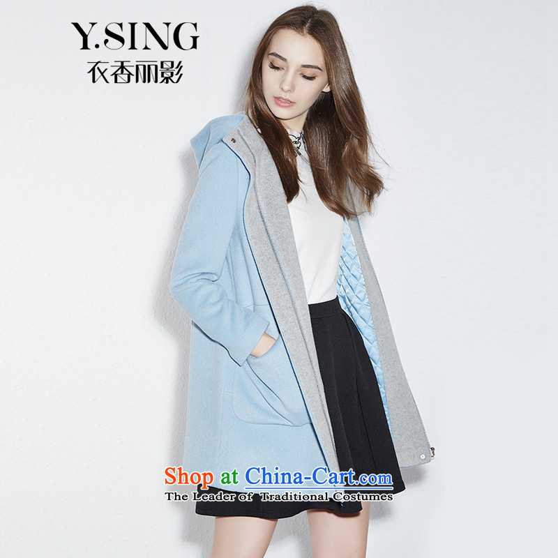 Hong Lai Ying 2015 winter clothing new pure color fresh with cap clips arts cotton jacket 951048228 light blue _56_ L