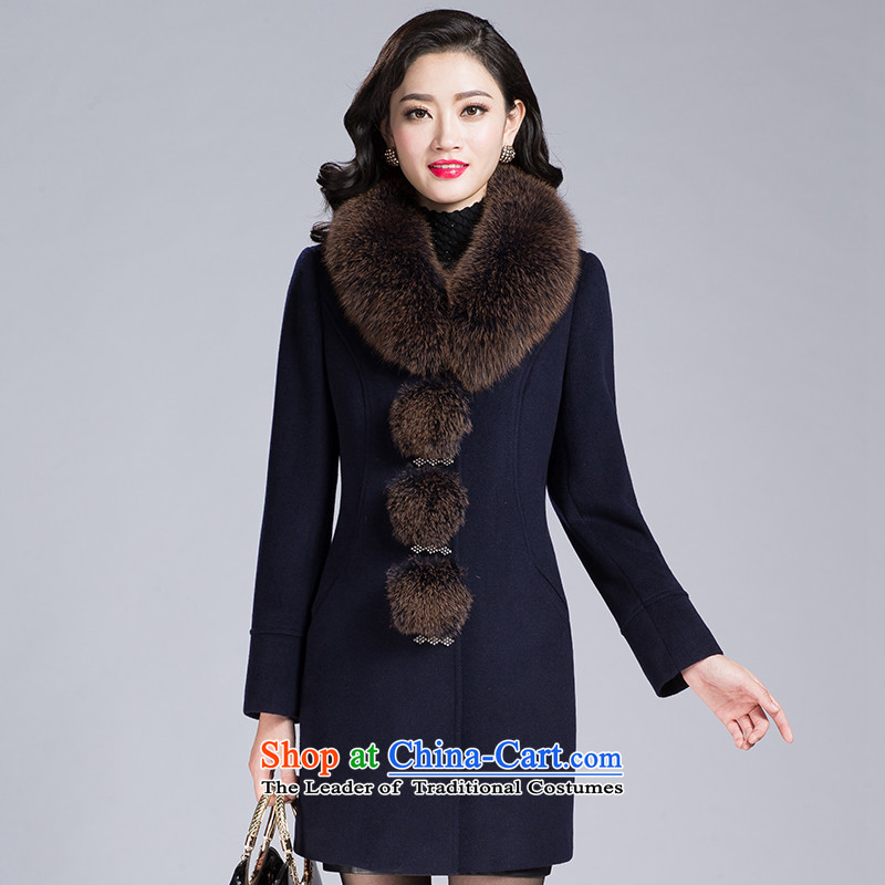 1485_2015 autumn and winter in new long thin long-sleeved strain of Sau San video pure color jacket Tibet? gross?4XL Cyan