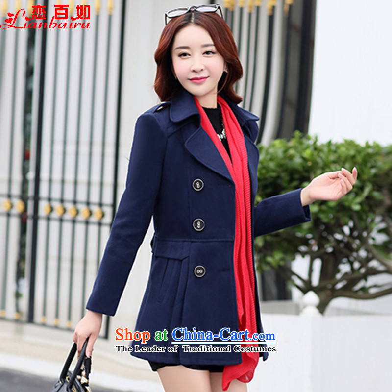 If You Love 2015 winter clothing autumn and winter female winter coats on new_? female gross Korean winter coats?_? In sub-jacket long Sau San�8爊avy blue燲XL