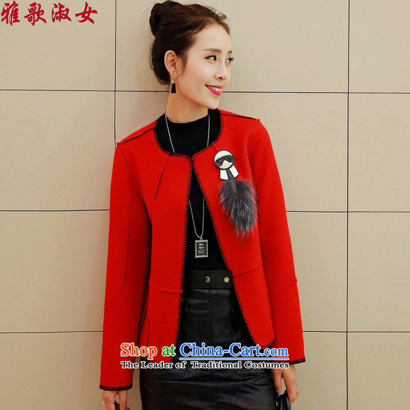 Song Gentlewoman  2015 autumn and winter new small wind round-neck collar short-gross jacket female long-sleeved wool?? coats aristocratic red XL