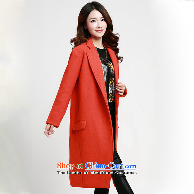 Hyatt Grand Hyatt fault and 2015 winter clothing new-long winter jackets for larger female Korean female faculty sum fashion to increase gross female coat? 1153 Orange Red L