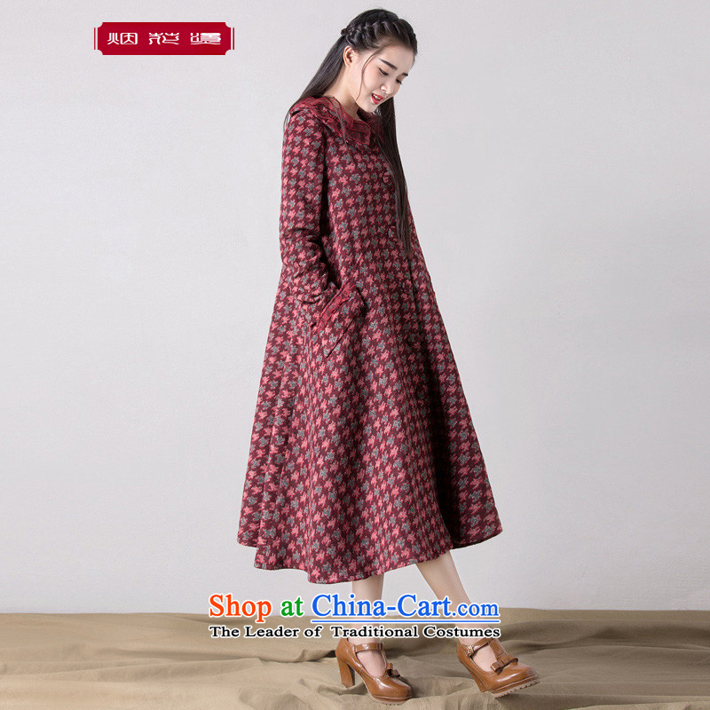 Fireworks Hot Winter 2015 new women's minimalist loose long hair? overcoats in Colombia into wine red XL spot