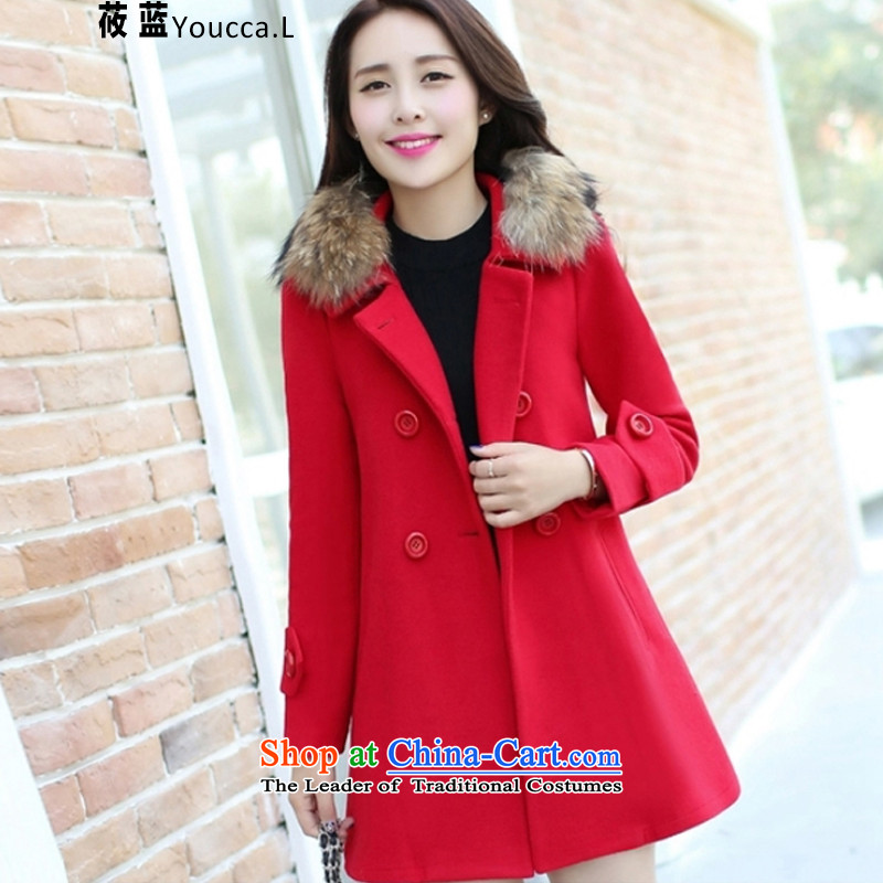 The�15 autumn and winter ? new retro version korea long hair? female燳LM244 jacket coat爎ed燣