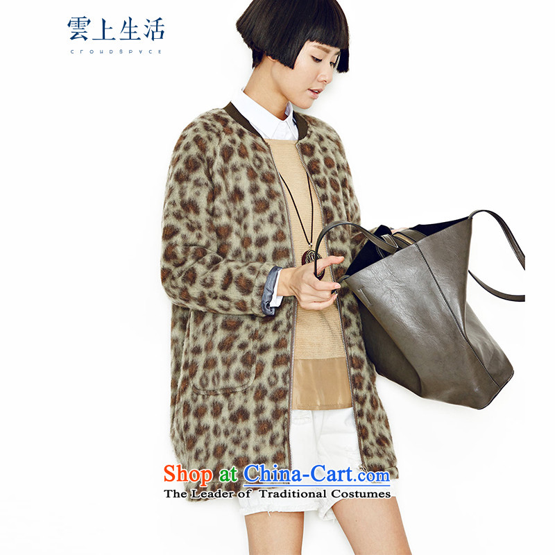 The cloud on the life of the�15 autumn and winter in loose long leopard jacket 53W2895 leopard green燣