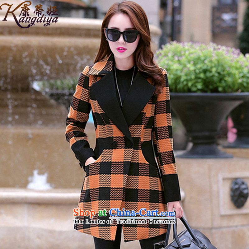 Contee Tarja Halonen of autumn and winter 2015 New Women Korean Sau San a wool coat in temperament long jacket 6668 gross? orange?XXL