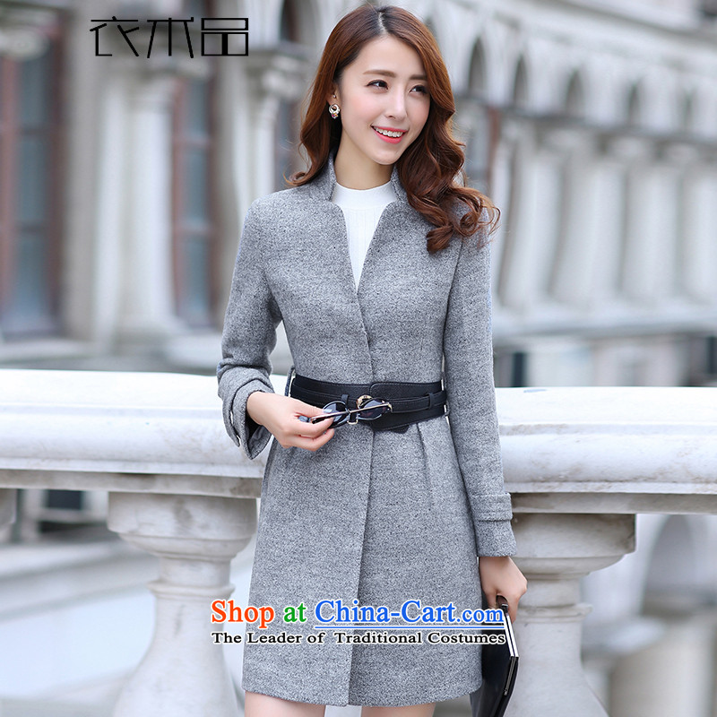 Yi Art 2015 autumn and winter new Korean version of Sau San? In coats Gross Gross? jacket long female Korean flower Gray L