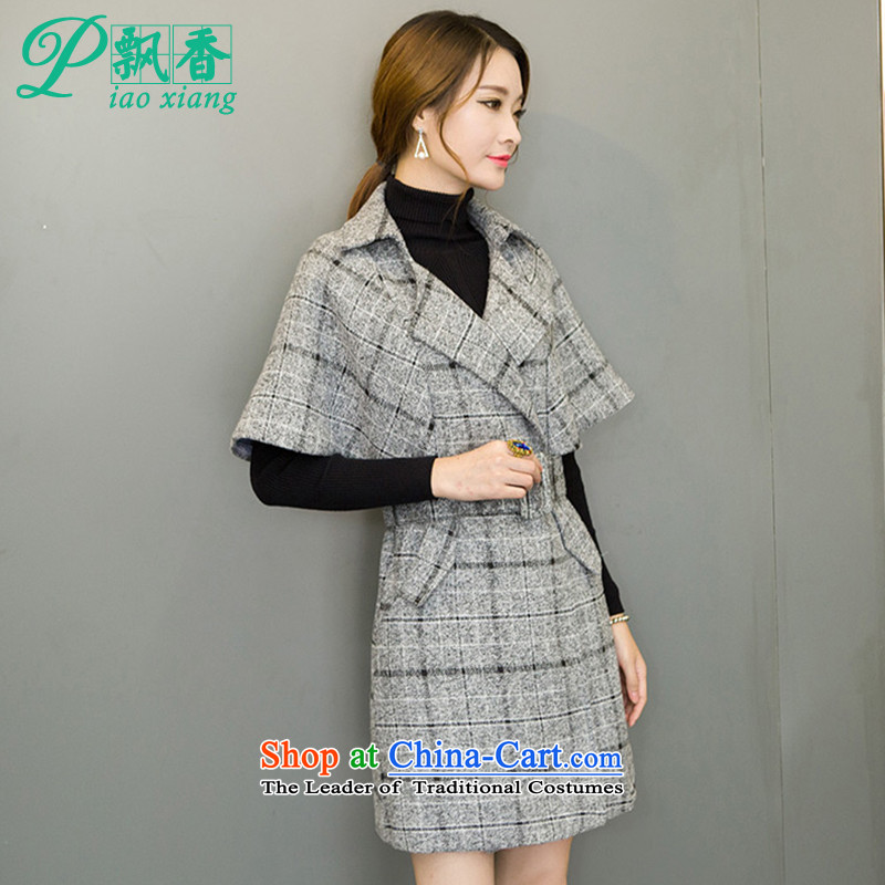 Scented Winter 2015 new stylish style charm Wild Hair? V1729 jacket coat Gray L