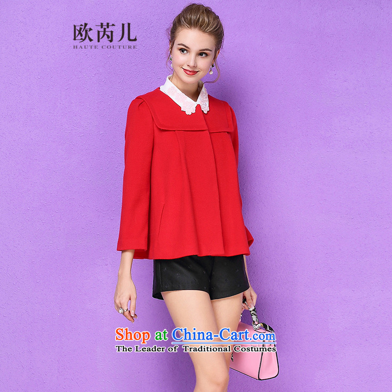 The Secretary for Health-care�15 Ms. OSCE winter new wool 9 cuff round-neck collar and small-wind jacket? 10112 gross red燬
