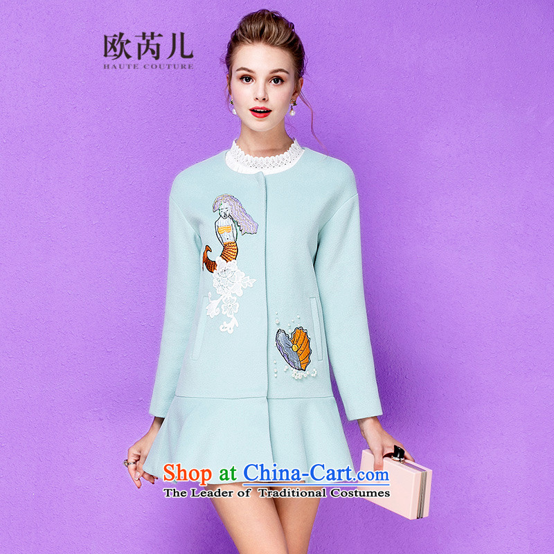 The Secretary for Health-care 2015 Ms. OSCE winter new stylish long-sleeved Washable Wool embroidery nail pearl billowy flounces gross? 10118 mint green S Jacket