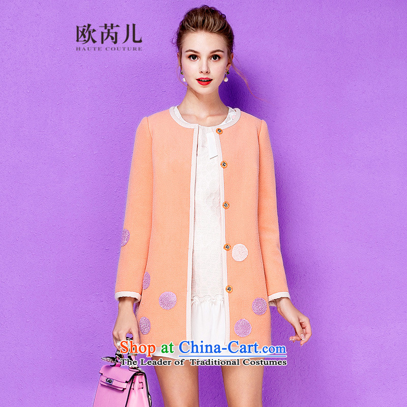 The Secretary for Health-care 2015 Ms. OSCE winter new long-sleeved round-neck collar edge knots wave package point embroidery wool a jacket light orange M 10111