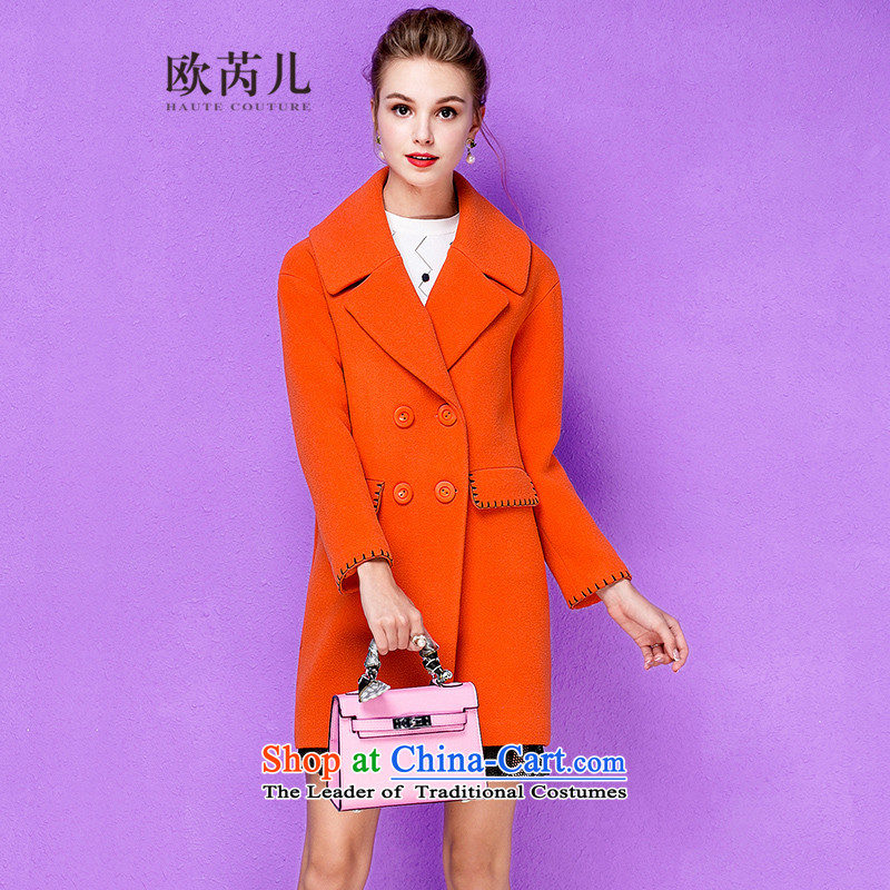 The Secretary for Health-care 2015 Ms. OSCE winter new suit for long-sleeved in long wool a wool coat jacket 10065 red-orangeS
