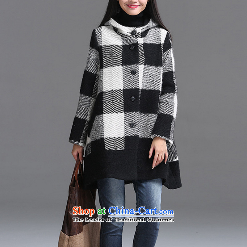 Large loose clothing and equipment gross jacket compartments with cap? a wool coat female black L