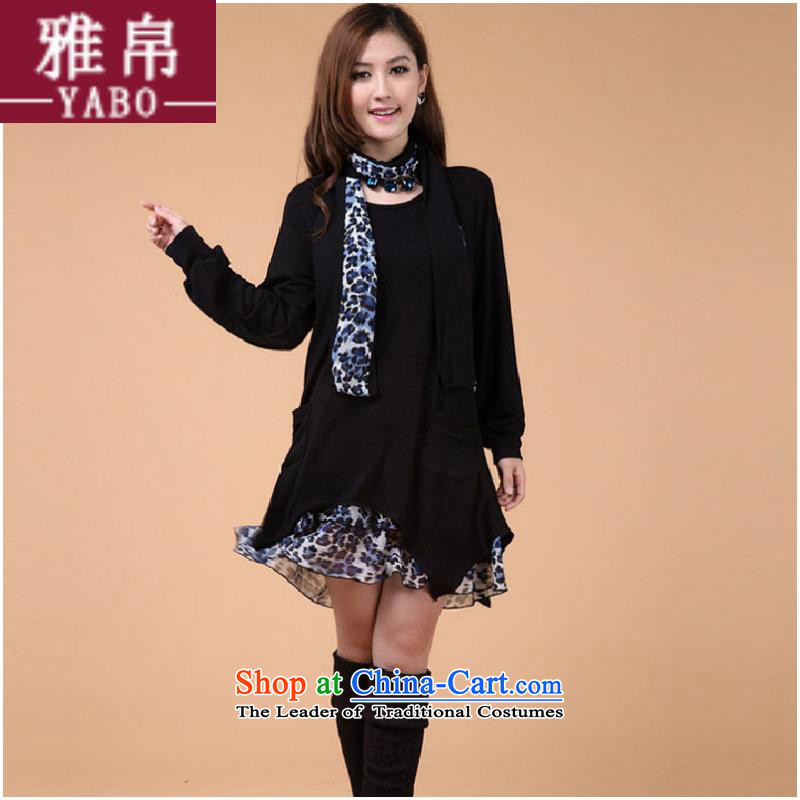 Large 2015 9Nga female Korean Fall_Winter Collections to xl skirts leave two Leopard woolen knitted dresses 431 Black燲L