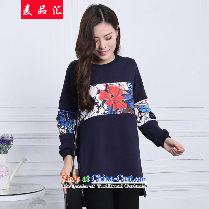 Mr Hui�15 autumn and winter, the new add-in code women wear loose clothes stylish saika wild plus lint-free video thin large dresses thick photo 019 color sister燲XL