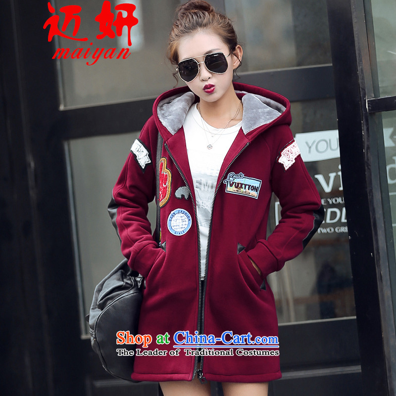 Michael Eon 2015 Winter Female gross?   Graphics thin coat female Korean edition suits for long wool coat female plus velvet? - Burgundy M