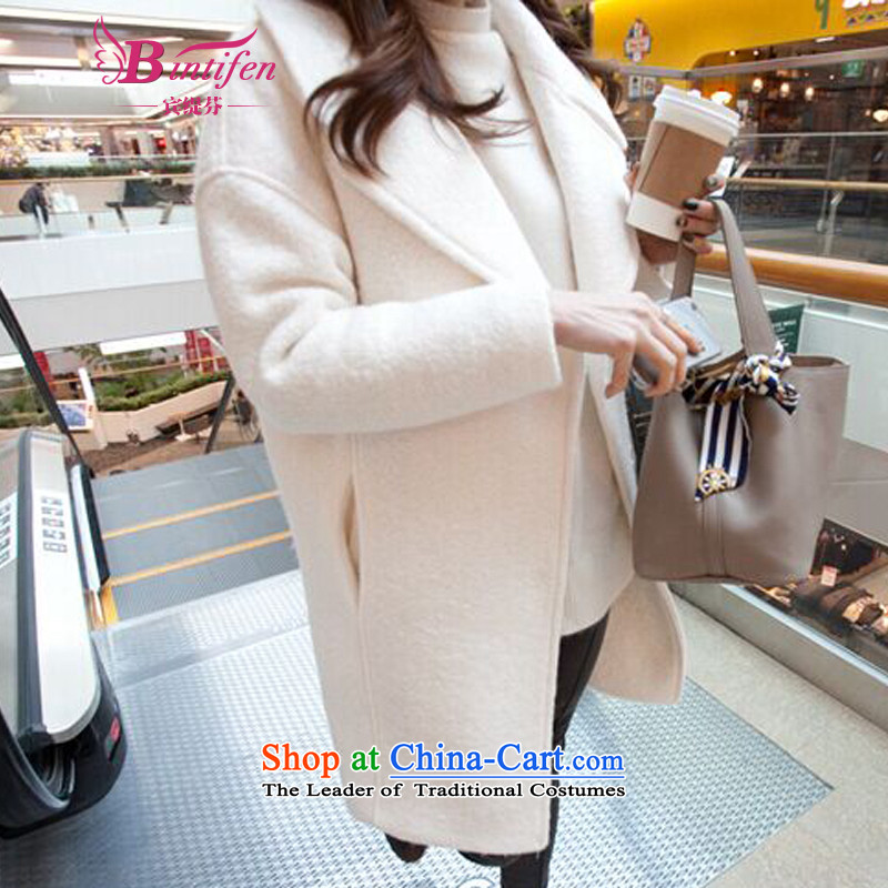 Stephen _BIN_2015 Yitzhak Rabin as the new Korean version of large roll collar white video thin cashmere cloak? female hair fall and winter No. 8302 White?S