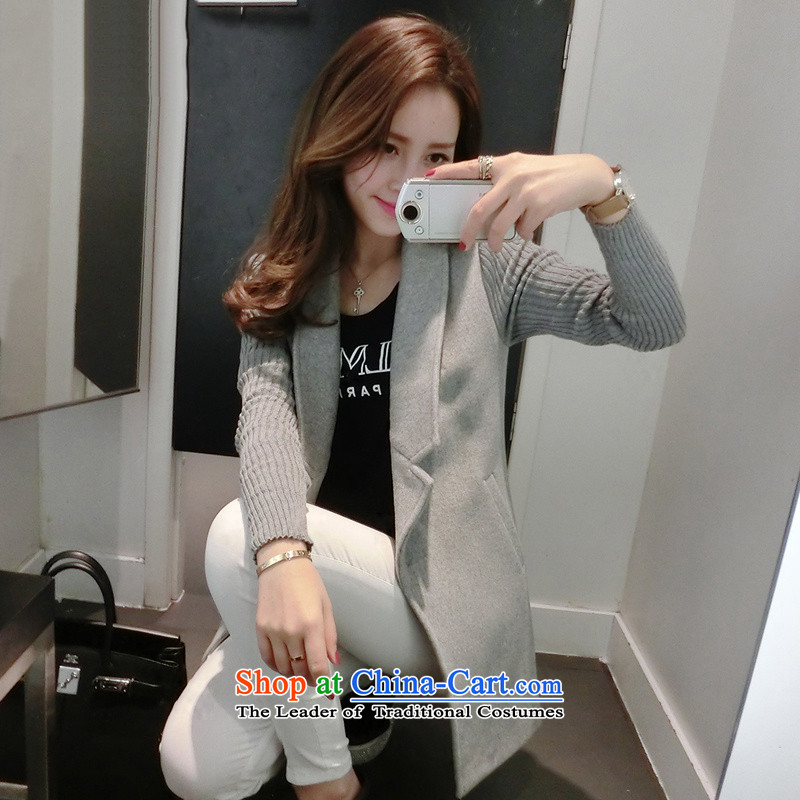 Load the new beauty autumn a wool coat Korean leisure spring and autumn gross girls jacket? long for women 1811 gray?S