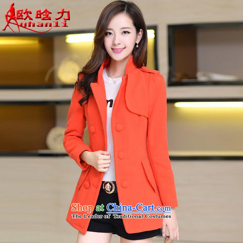 The OSCE detailed in 2015 autumn and winter New Women Korean jacket Sau San double-coats women 8861 gross? orangeXL