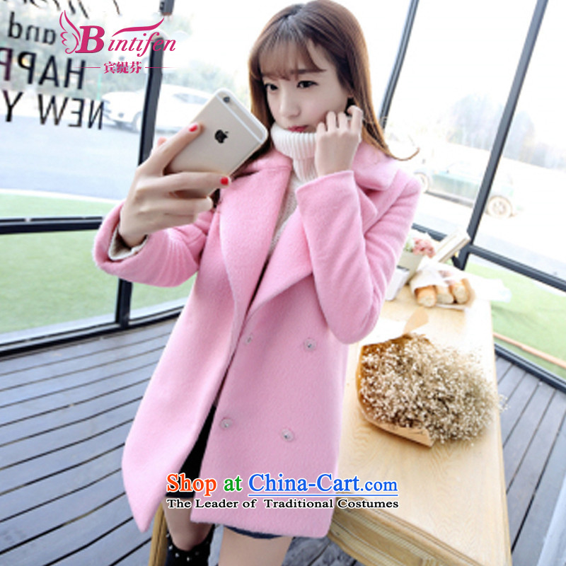 Stephen _BIN21_ Economy Yitzhak Rabin 2015 autumn and winter new Korean Version_? sub cocoon long-pink gross autumn and winter coats women? 9859 pinkXXL