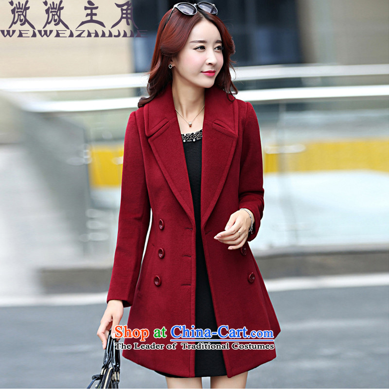 The caddy protagonists autumn and winter 2015 new larger version in Korea Sau San long wool coat jacket women? 1568 wine red?   XL