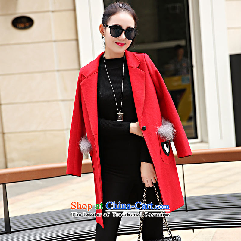 Suits for warm in the long hair? female Korean jacket for autumn and winter by replacing a wool coat female thick han bum�9燫ED燤
