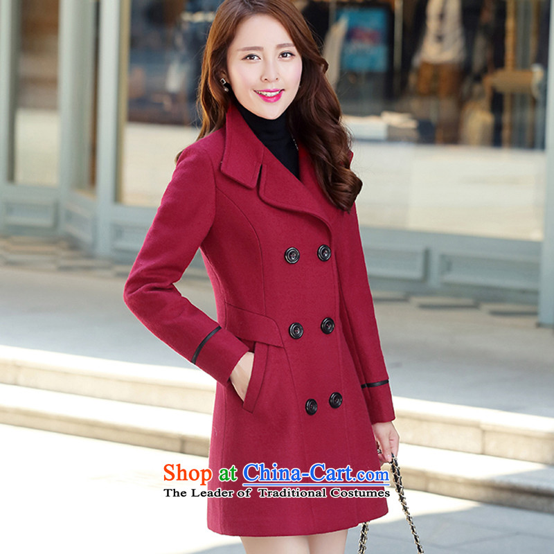 The autumn and winter new Korean version in Sau San long double-wool a wool coat women's gross?聽8859 female聽wine red jacket聽XL