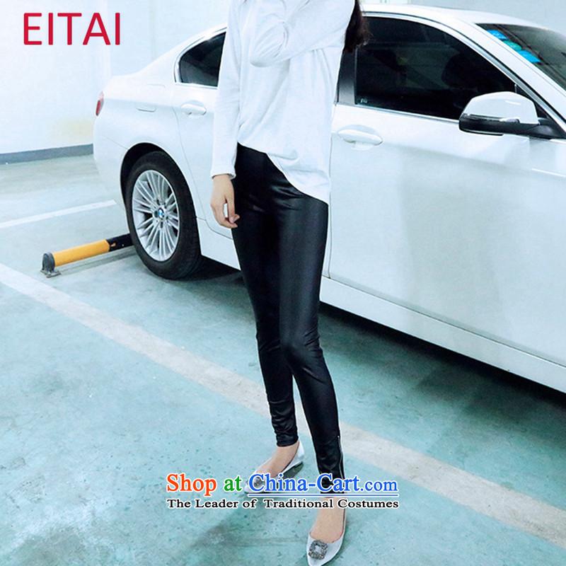 聽Large EITAI female winter clothing to intensify the graphics plus thin simulated leather pants, forming the wool pants zipper聽3XL black 170-220 catty