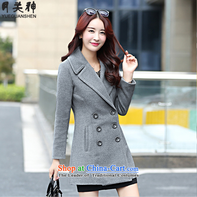 On God 2015 autumn and winter new Korean girl who decorated stylish long coats that we Gross Gross female 1568 gray jacket? XL