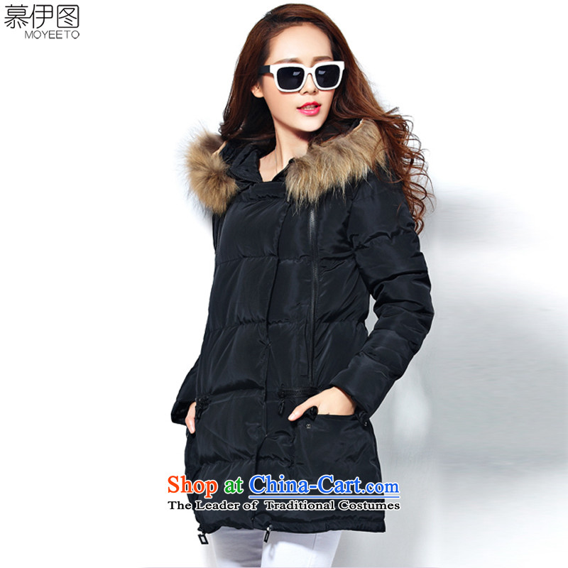 The Ituri 2015 winter clothing new larger female Korean version of Sau San video thin thick down to pass through 200 MM thick black 2XL( catty can penetrate 170-200 catties)