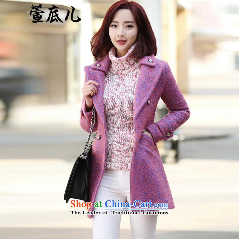 Mavis Fan bottom 2015 autumn and winter new Korean women who are in the long graphics thin a wool coat gross? pink jacket S