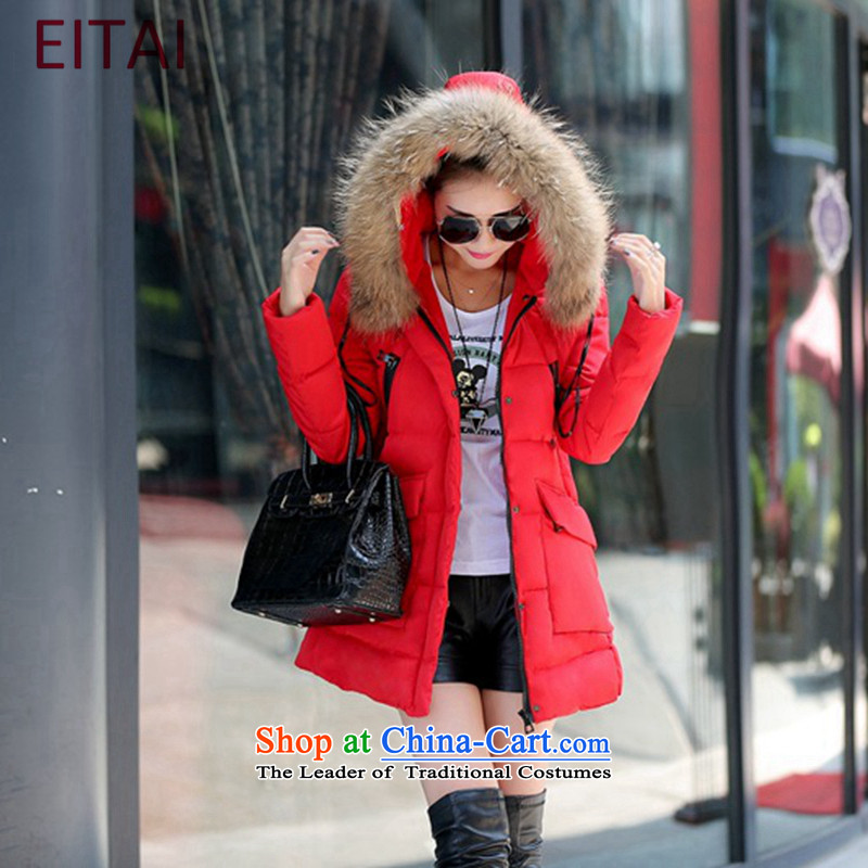 Large EITAI female winter clothing to intensify the Korean version of the thick red3XL Downcoat