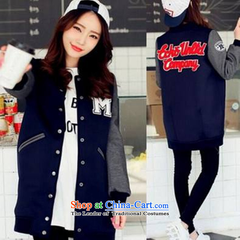 2015 Autumn winter new Korean version of large numbers of ladies thick MM loose, Hin thin, thick thick sister in long thick plus lint-free baseball uniform preppy sweater jacket blue S