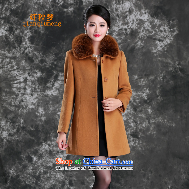 The former Yugoslavia autumn dreams 2015 new women's winter Western Wind stylish commuter wild fox gross for video thin long-sleeved wool cashmere overcoat female 7-862? And color燣