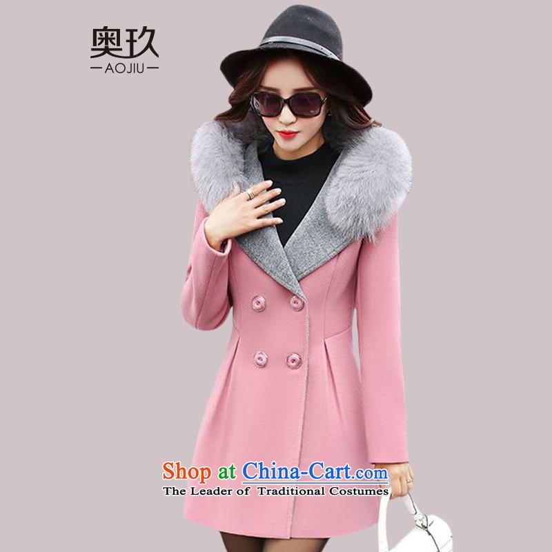 Mr. Ko Yo 2015 New Women's jacket in gross? long hair collar aristocratic small wind-coats of incense female燗2942爌ink燣