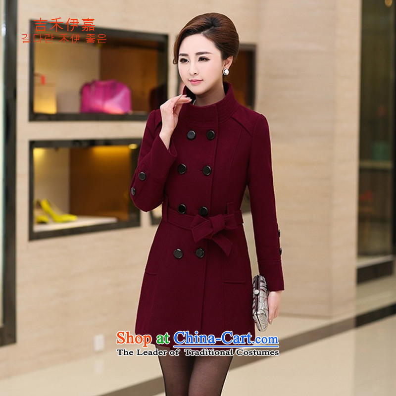 Gil Wo Ika 2015 Fall_Winter Collections 30-35-40 middle-aged women aged mother with Korean Pack windbreaker larger gross? coats jacket, Sleek and versatile wine red XL