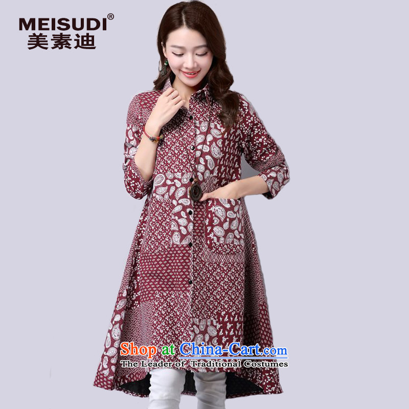 2015 Autumn and Winter Korea MEISUDI version of large numbers of ladies in literary and artistic floral long loose video thin temperament plus extra thick coat long-sleeved shirt, lint-free wine red燲XL