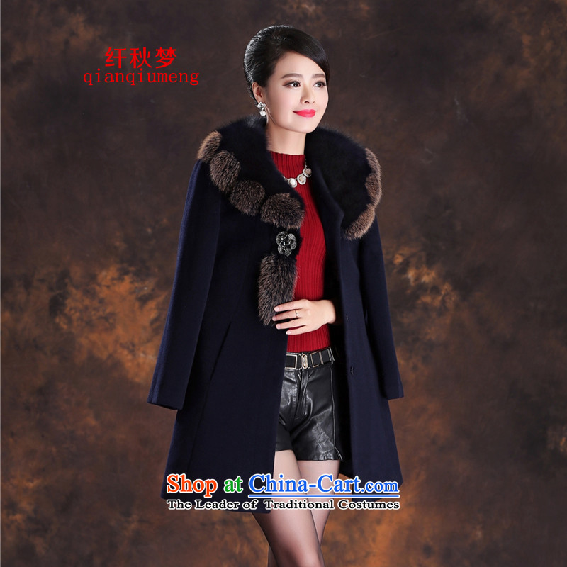 The former Yugoslavia autumn dreams 2015 new women's winter really gross for long-sleeved slimming fox commuter wild video thin wool coat female A39-6619? cashmere Tibetan blue XL