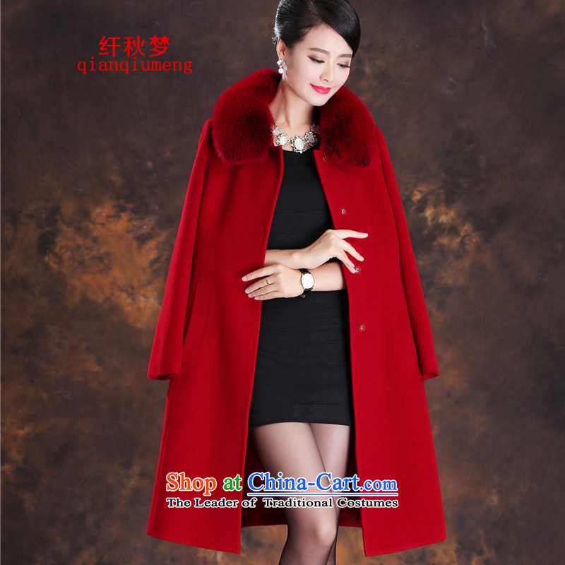The former Yugoslavia autumn dreams 2015 new women's winter Sau San commuter wild video thin really gross for Europe and the fox long-sleeved wool coat female A39-580? cashmere large red燲XL