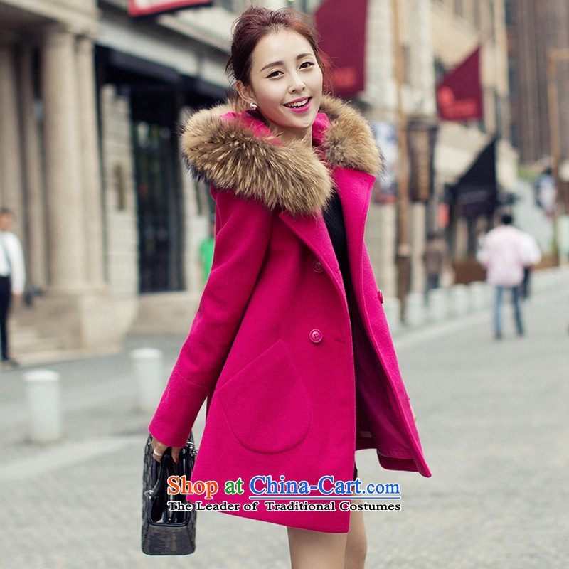 Ms. Sin has a 2015 Autumn new goddess of van gross jacket version won? long overcoat for women in red to ultra-Nagymaros collarM