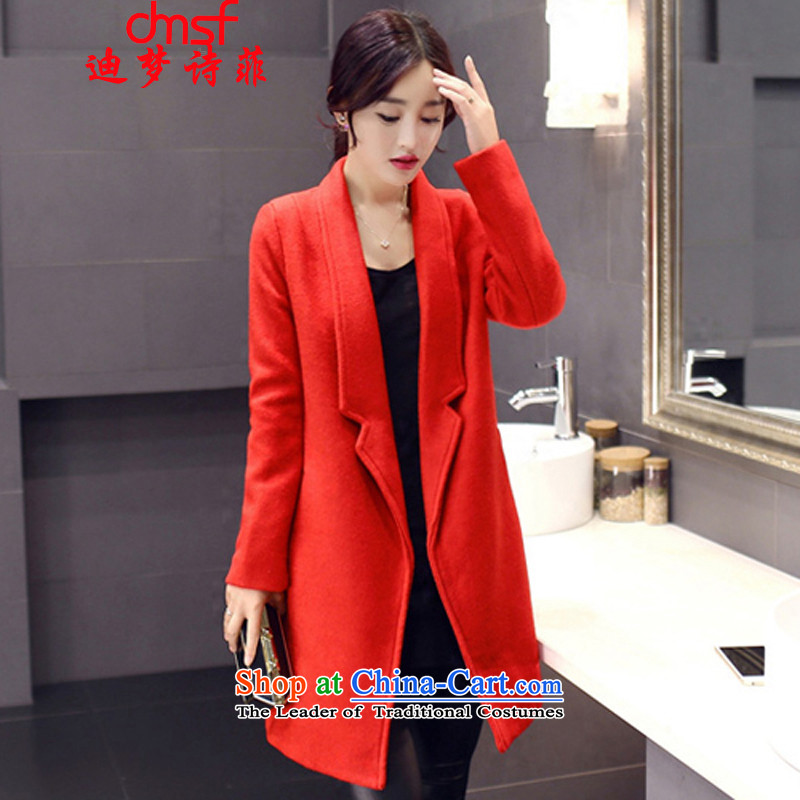The achievement of poetry, 2015 autumn and winter New Women Korean windbreaker suits for long jacket coat female gross? RED燤